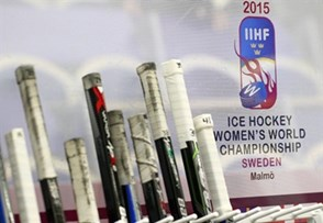 MALMO, SWEDEN - MARCH 28: Canadian player sticks at the bench as they get set to take on the U.S during preliminary round action at the 2015 IIHF Ice Hockey Women's World Championship. (Photo by Andre Ringuette/HHOF-IIHF Images)