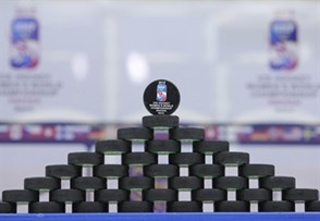 MALMO, SWEDEN - MARCH 31:  Official tournament pucks set up before Team Sweden takes on Team Germany during preliminary round action at the 2015 IIHF Ice Hockey Women's World Championship. (Photo by Francois Laplante/HHOF-IIHF Images)