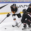 MALMO, SWEDEN - APRIL 3:  Germany's Laura Kluge #25 battles for a loose puck with Japan's Yurie Adachi #11 and Ayaka Toko #4 during relegation round action at the 2015 IIHF Ice Hockey Women's World Championship. (Photo by Francois Laplante/HHOF-IIHF Images)