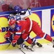 MALMO, SWEDEN - APRIL 4:  Russia's Nina Pirogova #13 collides with Finland's Emma Nuutinen #96 along the boards during bronze medal game action at the 2015 IIHF Ice Hockey Women's World Championship. (Photo by Francois Laplante/HHOF-IIHF Images)